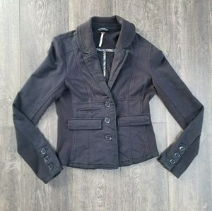 Free People Black Button Up Blazer - small